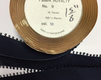 10 Yards of Vintage Ribbon pretty Navy Blue with a Picot Edge, Width - 1 5/8 inch,100% Rayon Made in Switzerland.