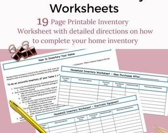 Home Inventory Kit Worksheet Printable
