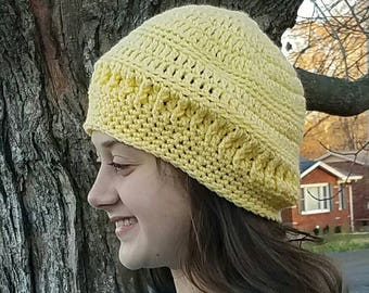READY to SHIP--Crochet Yellow Hat