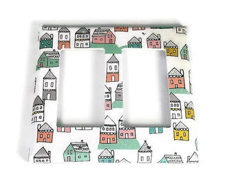 Double Rocker Switch Plate Light Switch Cover in Tiny Town (287DR)
