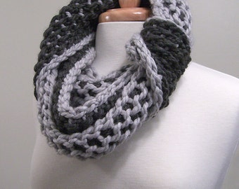 slate gray and charcoal gray chunky infinity scarf - tunisian crochet