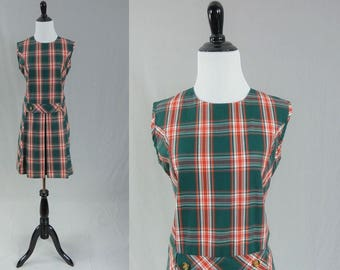 60s Plaid Dress - Sleeveless Summer Shift - Red Green White - Vintage 1960s - M L
