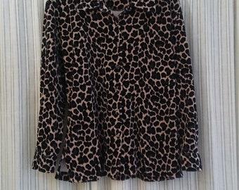 Vintage Leopard Print Button Up