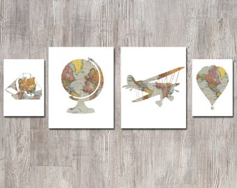 Travel Theme Nursery - Baby Shower - Nursery Decor - Vintage Map Prints - Nursery Wall Art - Hot Air Balloon Nursery - Globe Boat Airplane