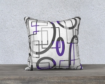 Purple and gray on white geometrical patterned throw pillow cover, handmade velveteen pillowcase by Felicianation Ink available in various s