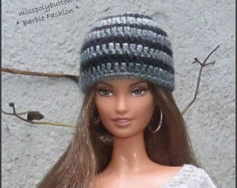 Striped Barbie Doll Beaie Hat, Fashion Doll Hat, Barbie Clothing, Barbie Crochet Hat, Beanie Hat Dolls, 1/6th Scale