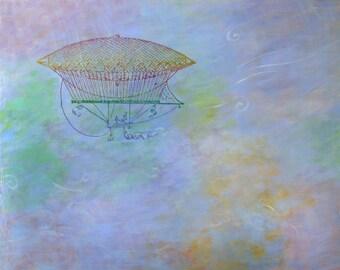 original fine art acrylic painting, wall decor, art by Irene Stapleford - Festive Flying Machine - wantknot shop