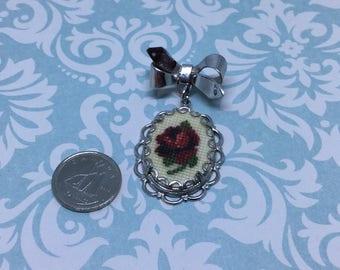 Vintage petit point rose brooch