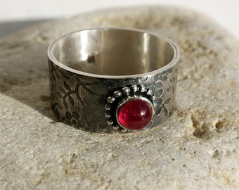 The berry - genuine ruby sterling silver ring