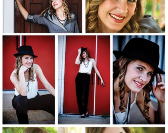 Pinterest Marketing Template Collage | Senior Portrait Session | Digital Download | PSD File
