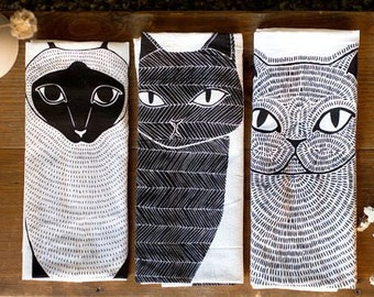 Cat Tea Towel Bundle, 3 Cats Tea Towels, Cat Lover Kitchen Decor, Cat Dishcloth, Cat Kitchen Towel, Cat Lady Gift, Gift for Her