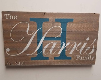 Personalized Wood Sign,Last Name Sign, Custom Name Sign, Wedding Gift Sign, Established Date Family Sign, Anniversary Gift, Rustic