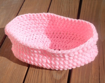 Crochet Moses Basket, Photo Props Bowl, Photo Prop Basket, Baby Girl Basket, Newborn Prop, Infant Crochet, Baby Boy, Pink Infant, Baby Item