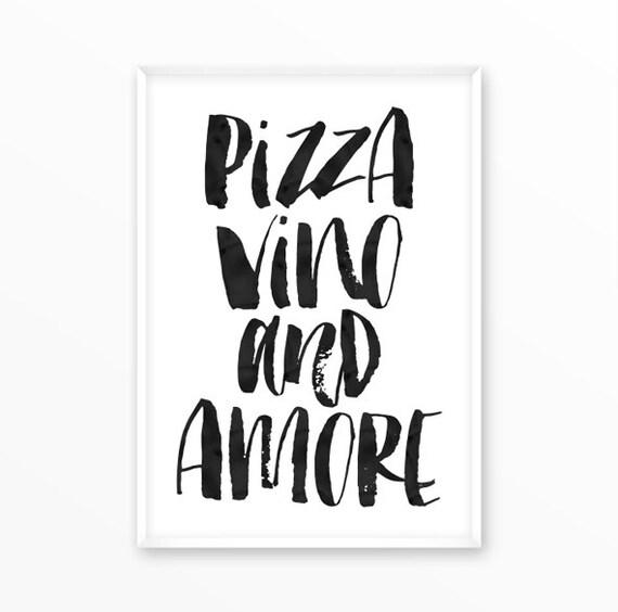 Pizza Druck Wein Liebe Essen Poster Küche skandinavische