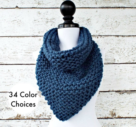 Womens Oversized Bandana Knit Cowl Denim Blue Scarf - Chunky Scarf Womens Knit Accessories Chunky Knit Scarf Winter Scarf - 34 Color Choices