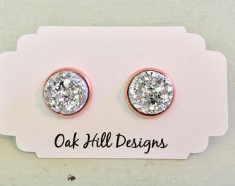 12mm chunky silver druzy in a rose gold setting-super sparkle!