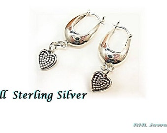 All Sterling Silver Earrings, Silver Heart Earrings, Small Hoop Earrings with Hearts - E907-01
