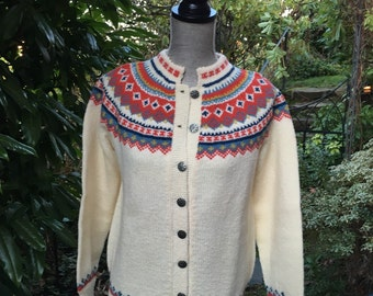 Fair Isle Norwegian wool sweater by Siril. Made in Norway-size S