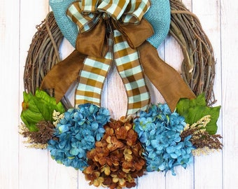 Hydrangea Wreath, Blue and Brown Wreath, Any Season Wreath, Turquoise Wreath, Blue Hydrangea Wreath, Spring Wreath, Mothers Day Gift