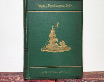 1872 The Land of the Veda - Travels through India, Illustrated with Engravings and Hand-Colored Map, Antique Travel Book