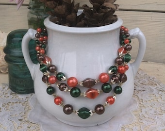 Perfect Vintage Autumnal Bib Necklace - Retro Fall Inspired Costume Jewelry, Vintage Gift For Her, Stocking Stuffer, Triple Strand Necklace