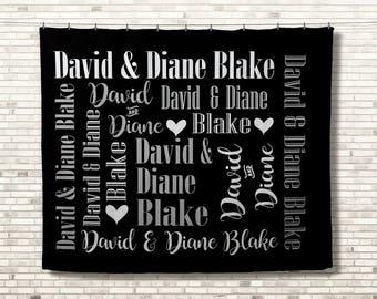 Personalized Wedding Blanket, Custom Wedding Blanket, Monogrammed Throw, Wedding Gift, Personalized Wedding Gift, Couples Name Blanket