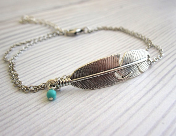 indian item beach feather chain bracelet catcher dream foot jewelry ankle anklet silver