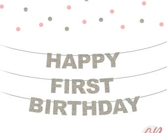 Happy first birthday bunting | 1st Birthday banner | First birthday decor | Glitter banner | Party decoration | Party decor | Age banner