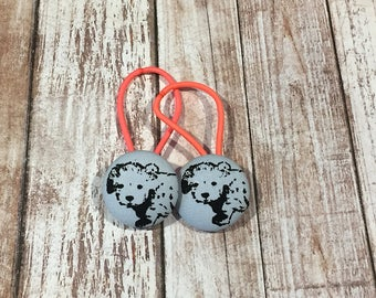 "1 1/8"" Size 45 Light Grey/Black Puppy Dog Fabric Covered Button Hair Tie / Ponytail Holder / Party Favor (Set of 2)"