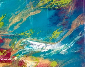 Original Art Susan Doyle Art Resin On Gallery Wrapped Canvas Ocean Art Coral Underwater Fluid Art Fluid Painting teal blue gold green white