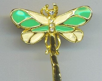 Vintage Dragonfly Pin/ Pendant . Rhinestones . Enameled Metal . Insect Brooch/ Pin - A Cute Visitor in my Garden by enchantedbeas on Etsy