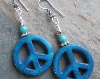 Peace Sign Earrings - Turquoise with Blue Stone Peace Symbols - Boho / Hippie Jewelry