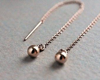 Rose gold threader earrings. Minimalist Chain earrings. Ear Thread earrings, pull through earrings ear chain. Rose gold ear thread, pease
