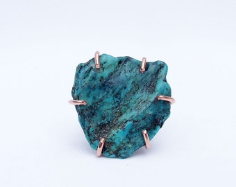 Turquoise ring, blue stone ring, birthstone ring, copper jewelry, Southwest ring, prong set stone, ring size 8.5, genuine turquoise