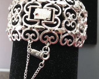 Monet- beautiful filigree silver-tone cuff bracelet
