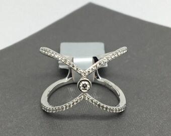 14K White Gold Natural Genuine Diamond Crisscross Wide Ring