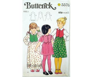 UNCUT Vintage Butterick 5575 Children's Toddler Girls Boho Dress Sewing Pattern 3 Options Age 2 Chest