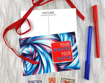 Vote Postcards - Your Voice Your Vote - Election Postcards - Voter Postcards - Get Out the Vote - Postcards to Voters - Political Postcard