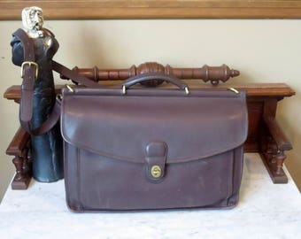 Dads Grads Sale Coach Beekman Briefcase In Mahogany Leather With Brass Hardware- Style No. 5266 - Made In United States- VGC