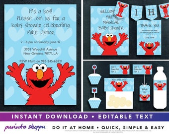 Sesame Street Elmo It's a Boy Baby Shower Party Printables / Invitation - INSTANT DOWNLOAD - Fully EDITABLE text