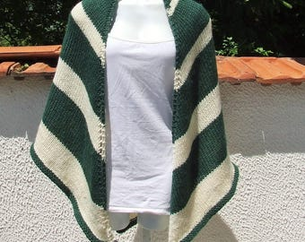 Hand knitted triangle striped shawl - Hand knitted wrap - Ladies hand knitted chunky green and cream striped triangular soft feel shawl