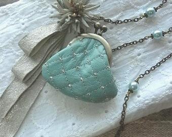 mini purse necklace - risshun - mint blue