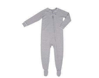 Organic Onesie by CorazonKids white with gray stripe
