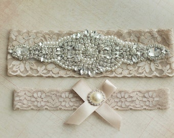 Nude Bridal Garter Set, Wedding garter set, Crystal Rhinestone Pearl Keepsake Toss Garters, Stretch Lace Wedding Garter
