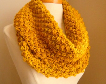Merino wool long cowl - Mustard yellow