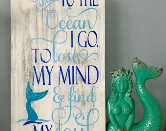 To The Ocean Handpainted Mermaid Wood Sign