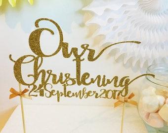 Christening Name Cake Topper with Date,  Glitter Cake Topper, Baptism, Naming Ceremony, Customised Cake Decor, Cake Smash, Photo Prop