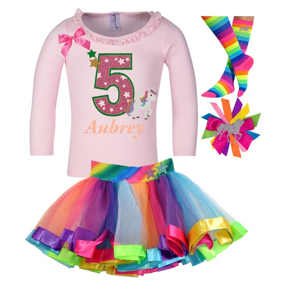 5th Birthday Rainbow Tutu Outfit for Girls