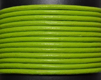 Fern Lime Green - 2mm Leather Cord per yard