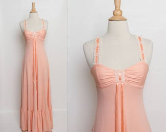 vintage 70s peach maxi dress with crocheted lace straps